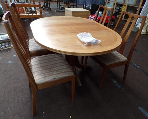 Retro Nathan extending table & 4 chairs-mid century