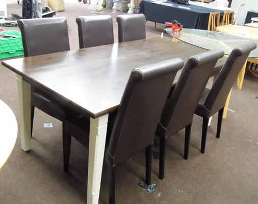 Large solid rectangular IKEA table & 6 chairs - approx.  37 x 75 inches