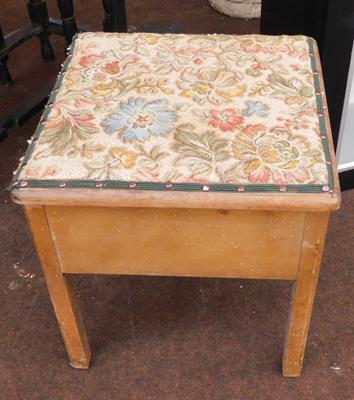 Vintage commode with tapestry top