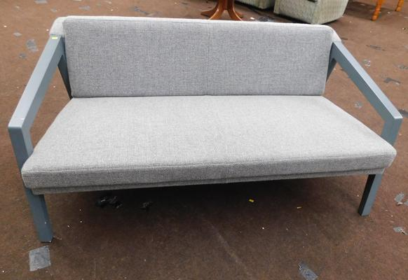 New/unused grey framed two seater settee