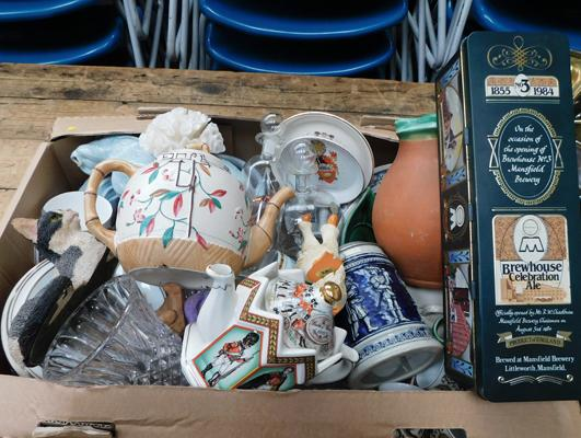 Box of vintage collectables incl. Sadler teapots, ships in bottles, cut glass ware, Sylvac dog etc.