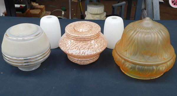 Selection of vintage glass light shades inc Vianne