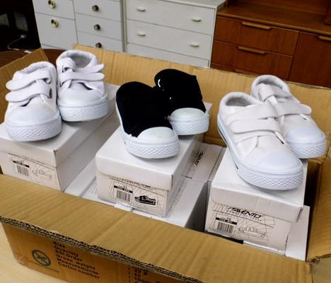 Assortment of new childrens trainers, various sizes