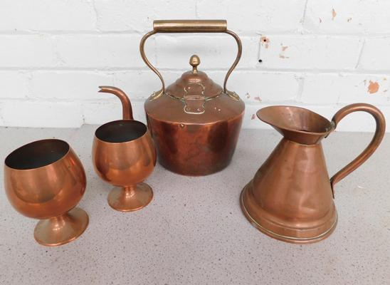 Copper kettle, water jug and goblets