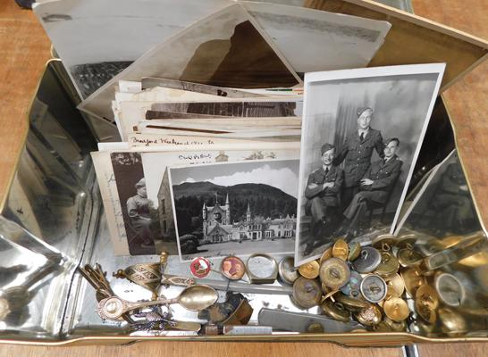 Assortment of military buttons, photographs, postcards and trench art ring etc.