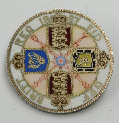 1887 Victorian four shilling coin, enamelled (perfect)
