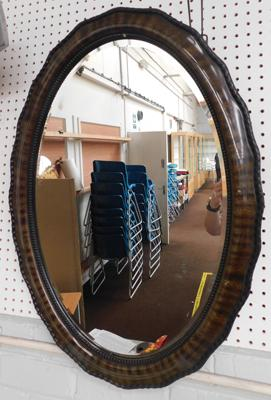 "Large vintage oval framed mirror-1 bead missing, approx 34"" long"