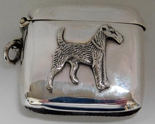 George V silver vesta with embossed Airedale dog, circa 1919