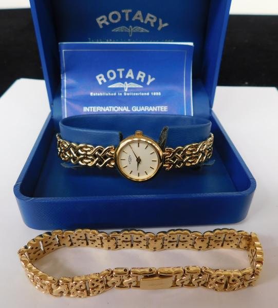 Boxed gold plated Rotary ladies watch with extra strap