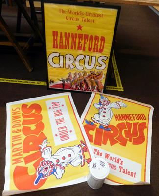 "Three vintage original circus posters, one framed approx 21"" x 29"""