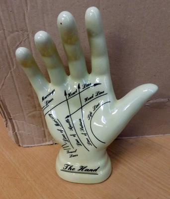 Vintage style ceramic palmistry palm readers hand