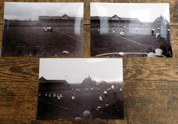 3 x photos of 1901 Rugby LChallenge Cup final, played at Headingley, between Batley v Warrington