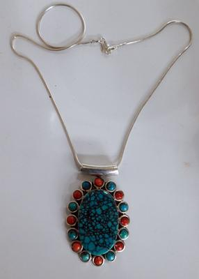 Silver chain with large turquoise & cornelian stone pendant (stamped 925)