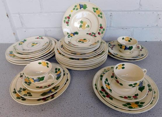 Collection of antique, hand-painted Royal Ivory, Titan ware ceramics