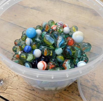 Large tub of vintage glass marbles