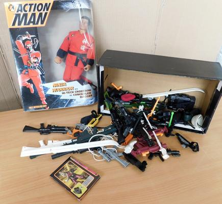 Boxed Action Man Ninja warrier, plus large collection of accessories, guns etc...