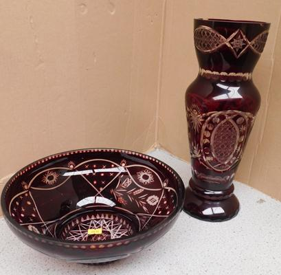 "Red Bohemia glass - no damage approx 13"" tall"