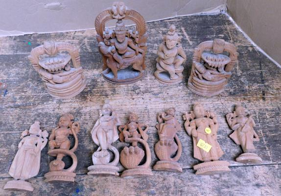 "Assortment of wooden carved Buddhas/gods approx 6"" tall"
