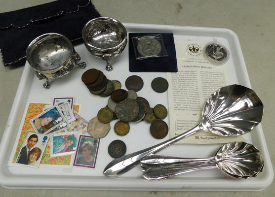 Tray of collectables inc EPNS, coins, stamps etc