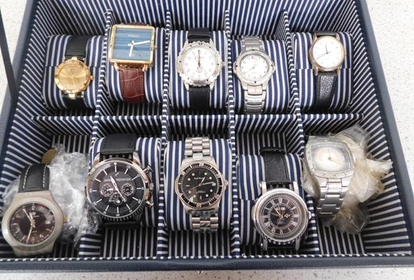 10 Watches in display case