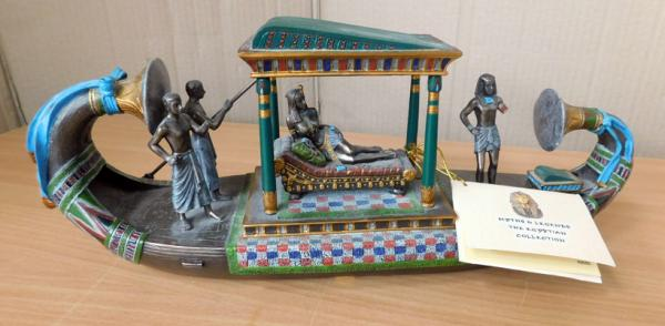 Myths & Legends The Egyptian collection no 6585, Egyptian Royal Lunar barge, with cert-no damage approx 13 inches