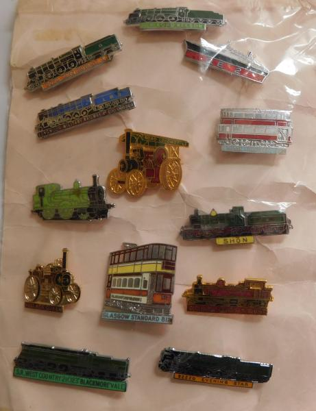 Collection of 13 vintage transport related badges