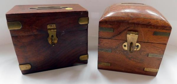 2x Wooden money boxes with brass inlay