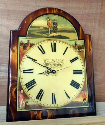 Vintage Edward Dillon Waterford wall clock, hunting scene by creative design London approx 18 inches w/o
