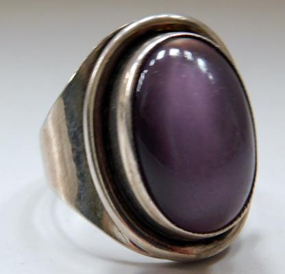 925 Vintage silver cats eye ring size P1/2