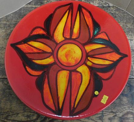 "Poole orange & red large charger plate 14"" diameter, no damage, signed B"