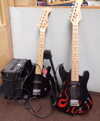 Two childrens electric guitars & amplifier - W/O