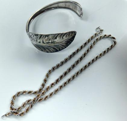 Silver rope necklace and silver plated bangle