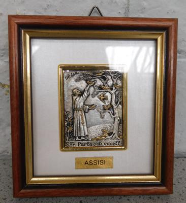 "Sterling silver religious picture approx 4"" x 5"""