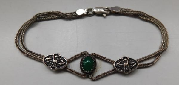 Unusual sterling silver green cabochon albertina watch chain style bracelet