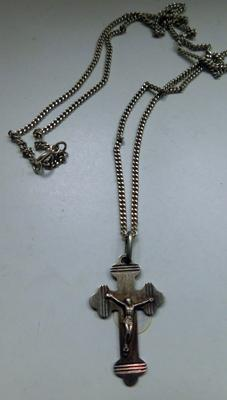 Long sterling silver curb chain with silver vintage crucifix