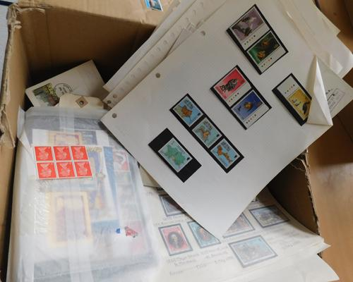 Box containing large quantity of stamps