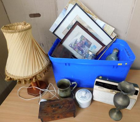 Box of antique & vintage items, early stoneware, Roberts radio, deco lamp, watercolour etc
