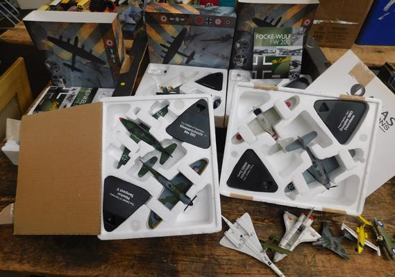 Box of 7 boxed model aircraft and some loose
