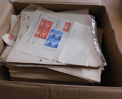 Box containing quantity of early World stamps on many album pages etc.