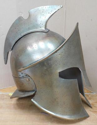 Metal Gladiators helmet with leather insert - wearable