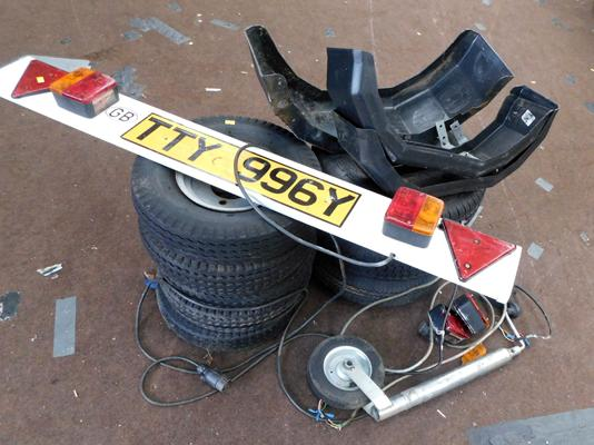Selection of trailer accessories-wheels, mudguards, lights etc
