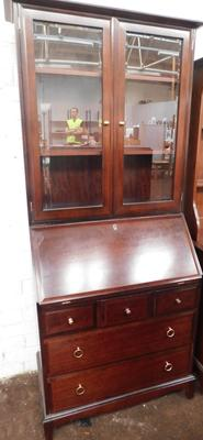 5 drawer bureau with glass fronted display cabinet above