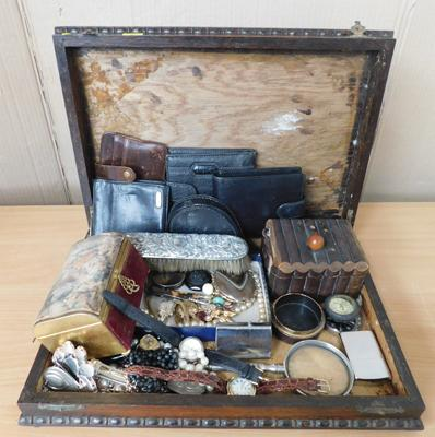 Oak vintage canteen of collectables, jewellery, lighters, hallmarked silver, watches, leather wallets etc