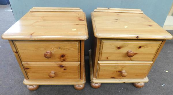 2x Two Drawer pine bedside cabinets