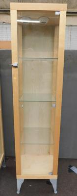 Four shelved glass display cabinet