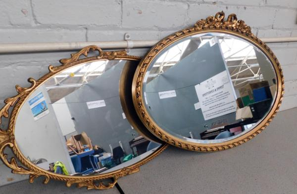 2x Large gold framed mirrors