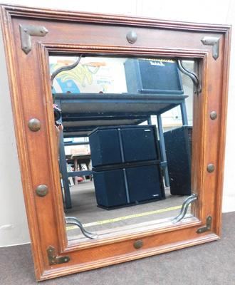 "Heavy wooden framed mirror - approx. 23"" x 21"""