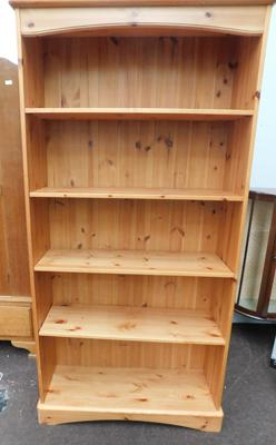 "Pine bookcase approx 36"" x 75"""