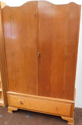 Vintage hand made oak double wardrobe, approx. 74 inches tall x 47 inches wide