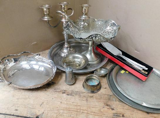 Assortment of silver plated items